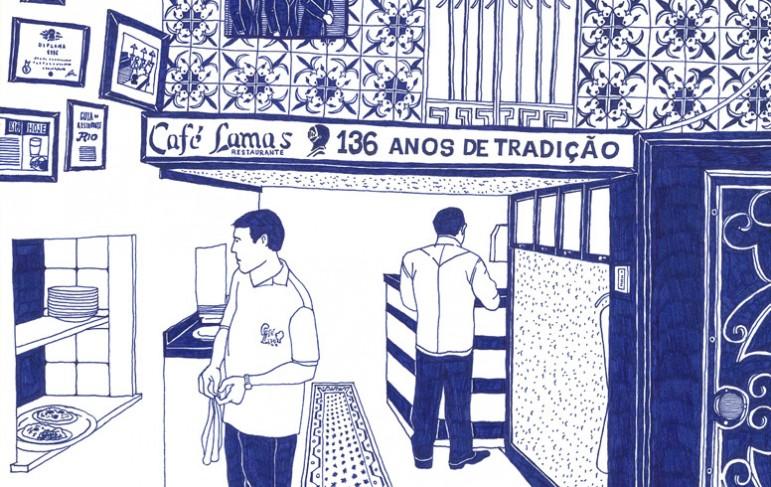 Desenho do Café Lamas em caneta bic por Paulo Mariotti.